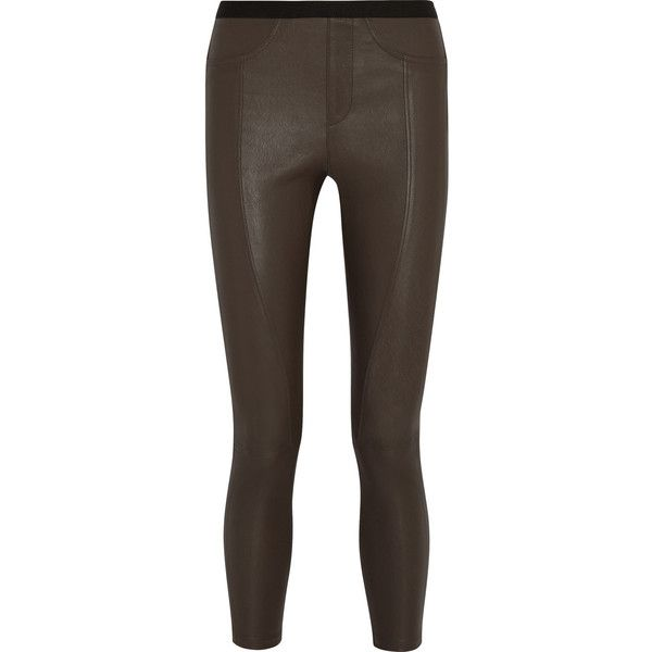 Helmut Lang Stretch-leather skinny pants ($538) ❤ liked on Polyvore featuring pants, grey, pull on stretch pants, gray leather pants, leather skinny pants, pull on pants and leather pants