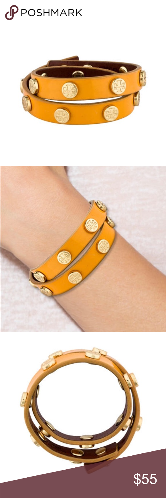"""TORY BURCH DOUBLE WRAP LOGO BRACELET Yellow patent leather Tory Burch double wrap bracelet with gold-tone logo stations. Metal Type: Gold-Toned Metal Metal Finish: High Polish Condition: Very Good. Faint scuffs at exterior. Measurements: Length 14.25""""-15"""", Width 0.75"""" Tory Burch Jewelry Bracelets"""