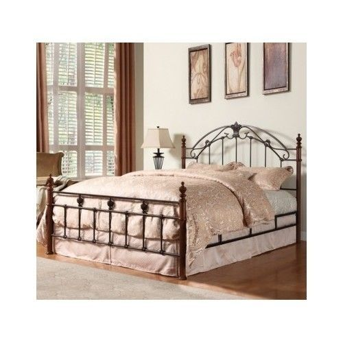 Antique Metal Queen Poster Bed Frame Wrought Iron Scroll Headboard