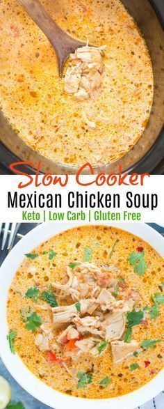 Slow Cooker Mexican Chicken Soup - Keto - Low Carb | food ...