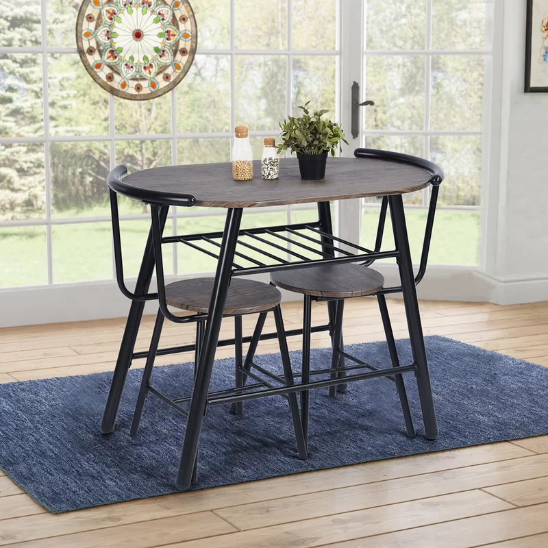 3 Pcs Home Kitchen Bistro Pub Dining Table 2 Chairs Set 72 95