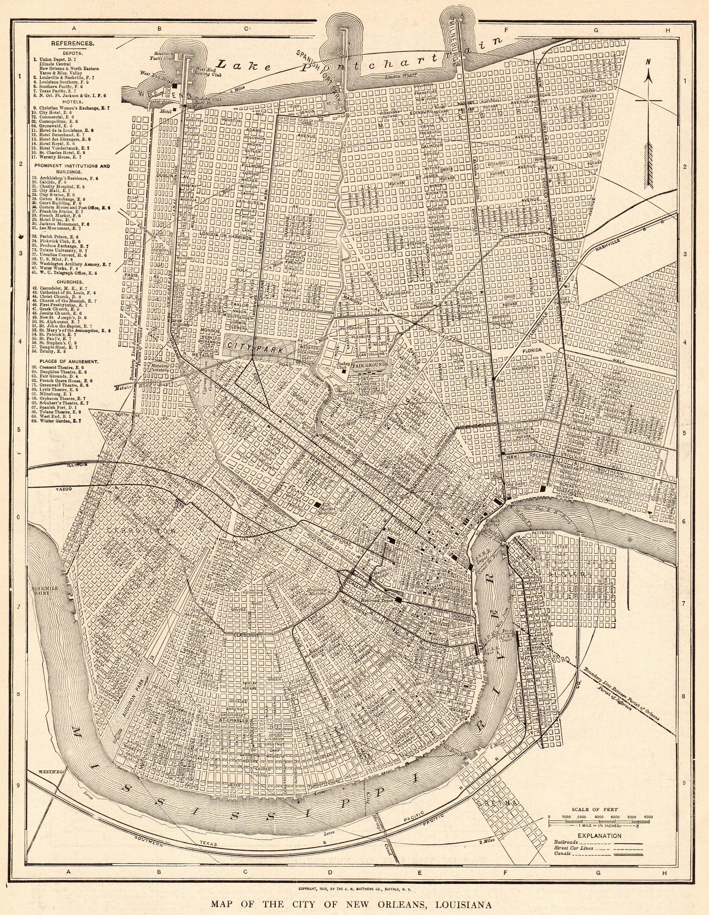 1917 Antique New Orleans City Map Street Map Of New Orleans