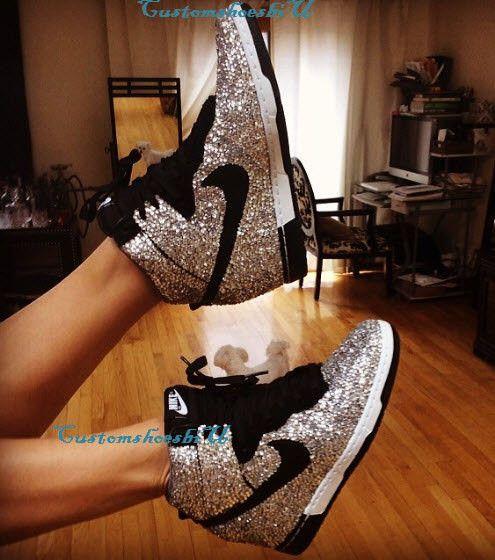 Custom Fully Covered Clear Bling Rhinestone Nike Dunk Sky Hi Wedge Sneaker a1ee0dbd94e5