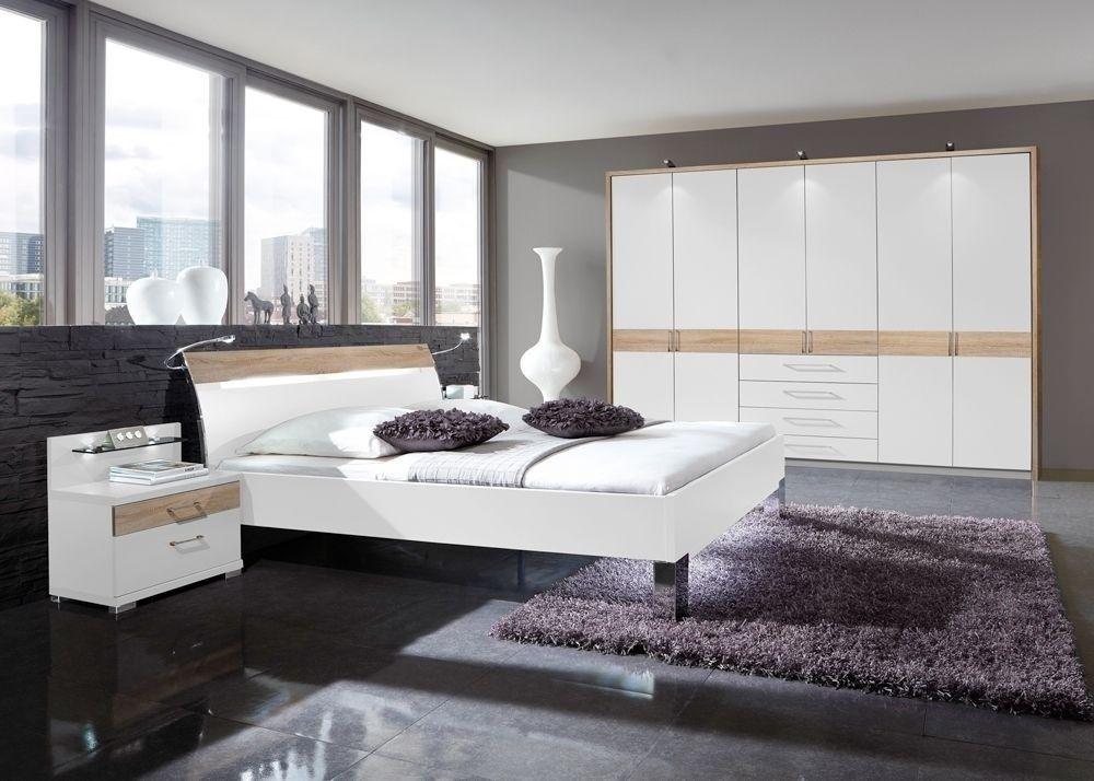 Schlafzimmer komplett Weiß mit Eiche Sägerau 5739 Buy now at - schlafzimmer komplett in weiss einrichten