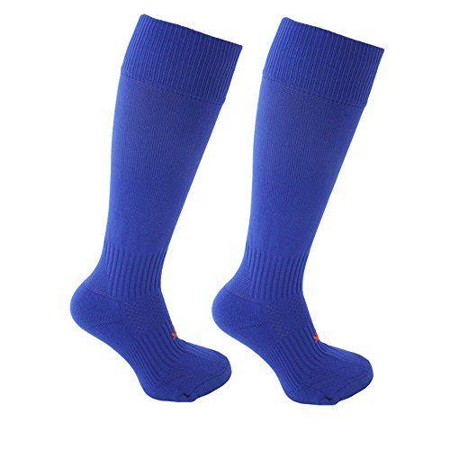 Unisex Knee High Football Hockey Plain Sport Socks Youth 3-6, Royal Blue