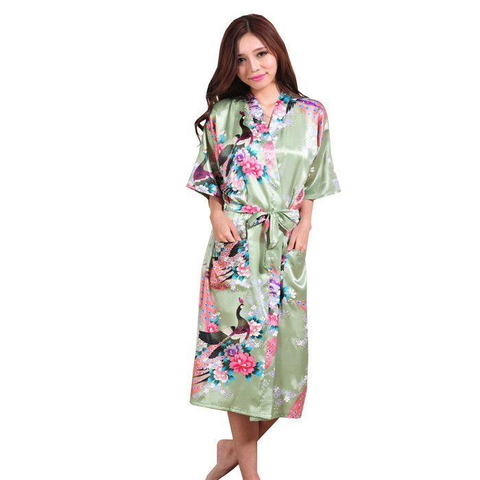 85faf343ec Plus Size XXXL Blue Chinese Female Silk Rayon Robe Kimono Night Gown Printed  Peacock Floral Sleepwear pijamas mujer