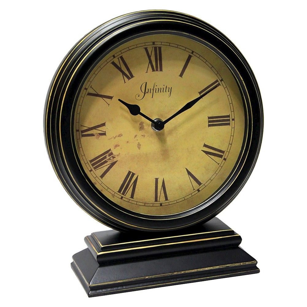 The Dais Table Clock Black Gold Infinity Instruments
