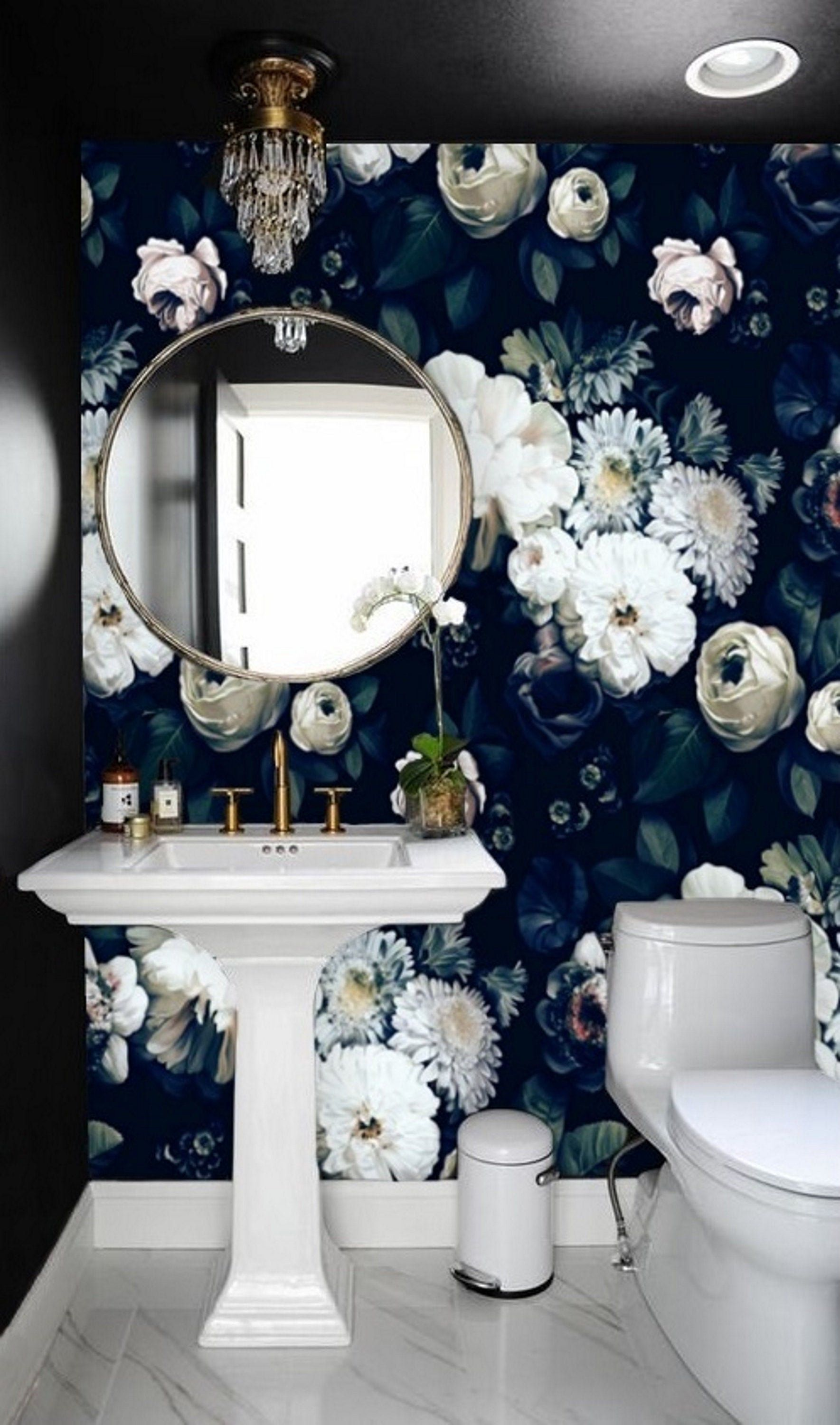 Dark Vintage Floral Wallpaper Wall Mural Removable Wallpaper Dark Peony Mural Wallpaper Peel Stick Vintage Floral Wallpapers Wall Wallpaper Floral Wallpaper