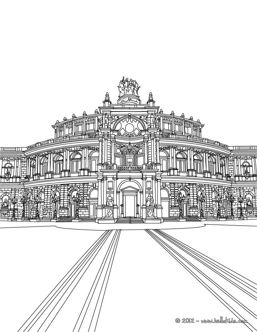 Famous Places In Germany Coloring Pages Dresden Semperoper Coloring Pages Perspective Sketch Coloring Books