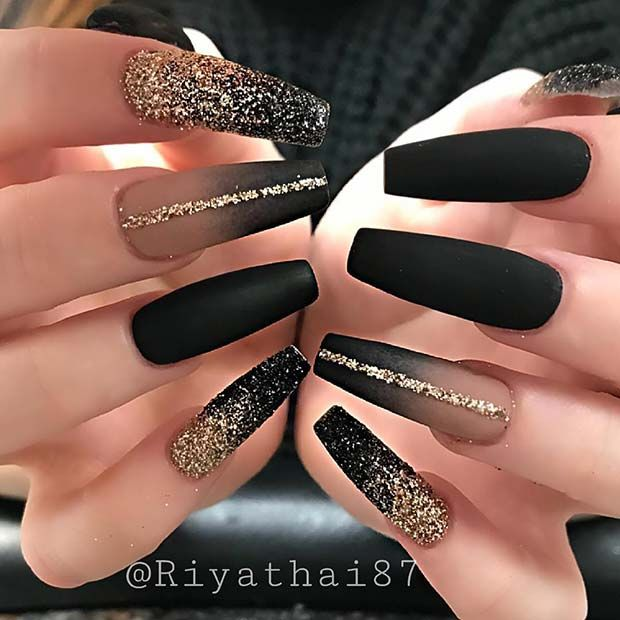 Gold and Black Nail Design