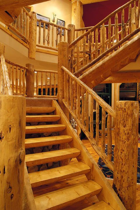 Log Staircase In Log Home With Log Treads And Log Railing