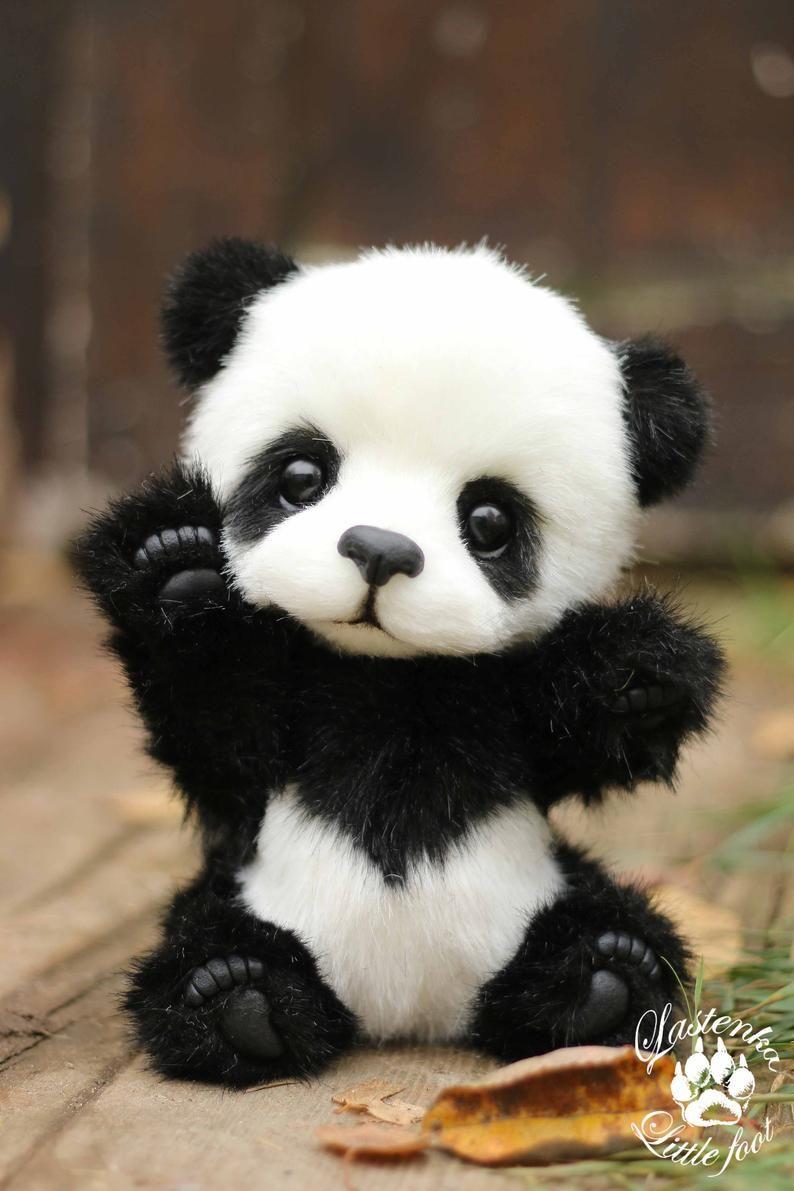 Panda ours Hugo fait à la main peluche collectionner artiste peluche en peluche ours en peluche OOAK jouet mignon panda ourson réaliste ours en peluche beas cadeau (fait sur commande)