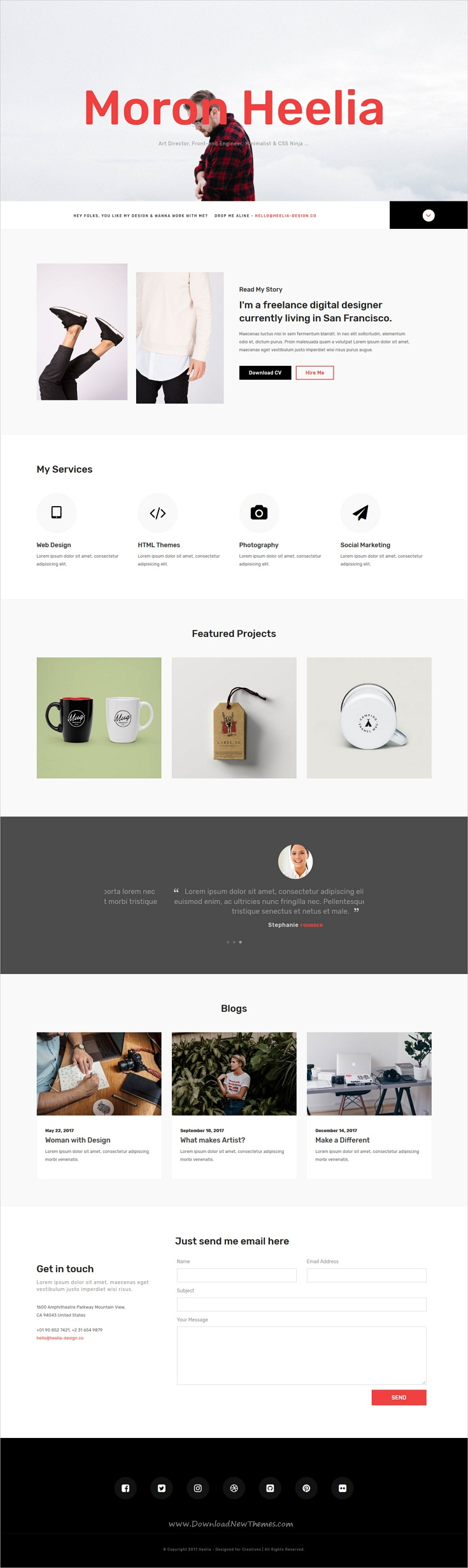 Heelia  Portfolio One Page Html Template  Clean Design
