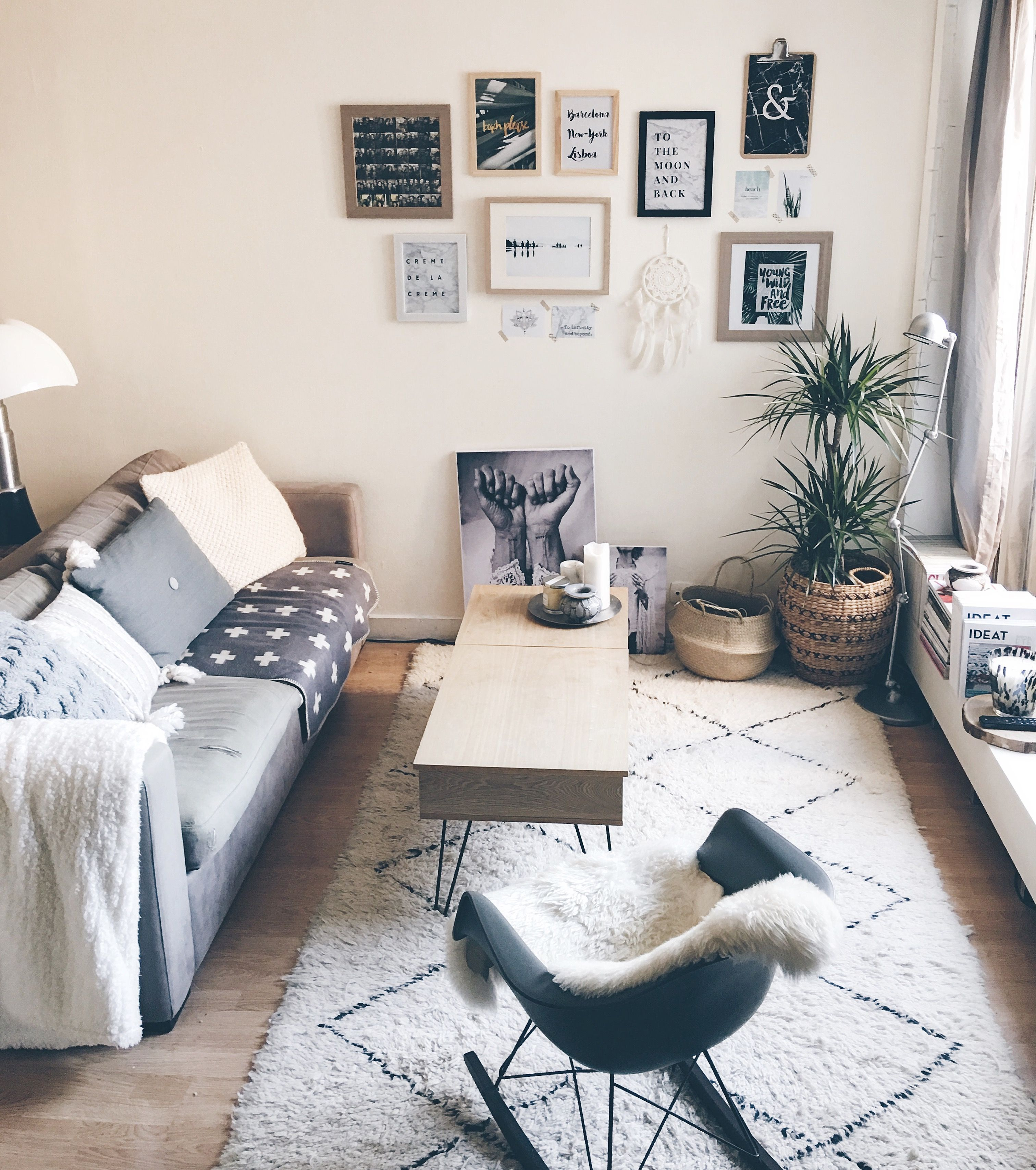 Tapis Beni Ouarain Eames Gris Blanc Cosy Room Living Room