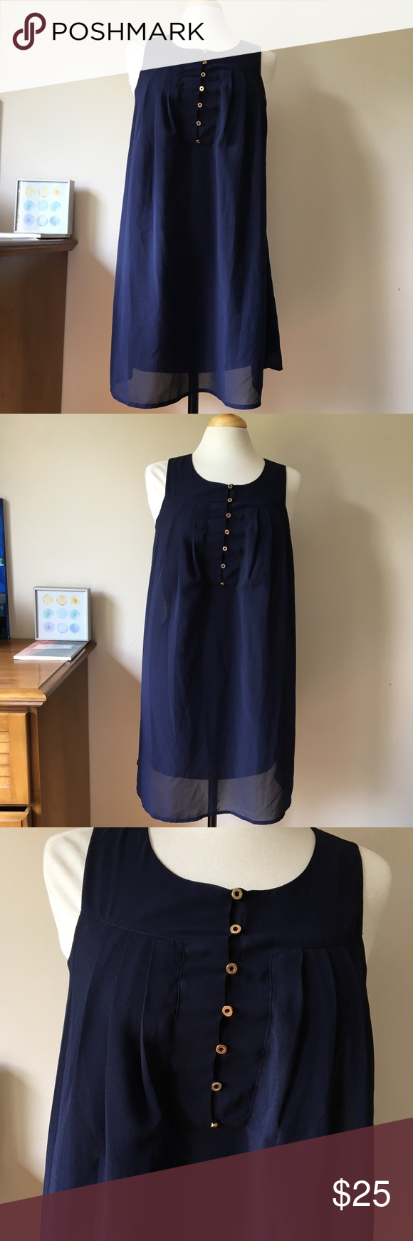 She and sky navy blue shift sleeveless dress flowy fabric and design