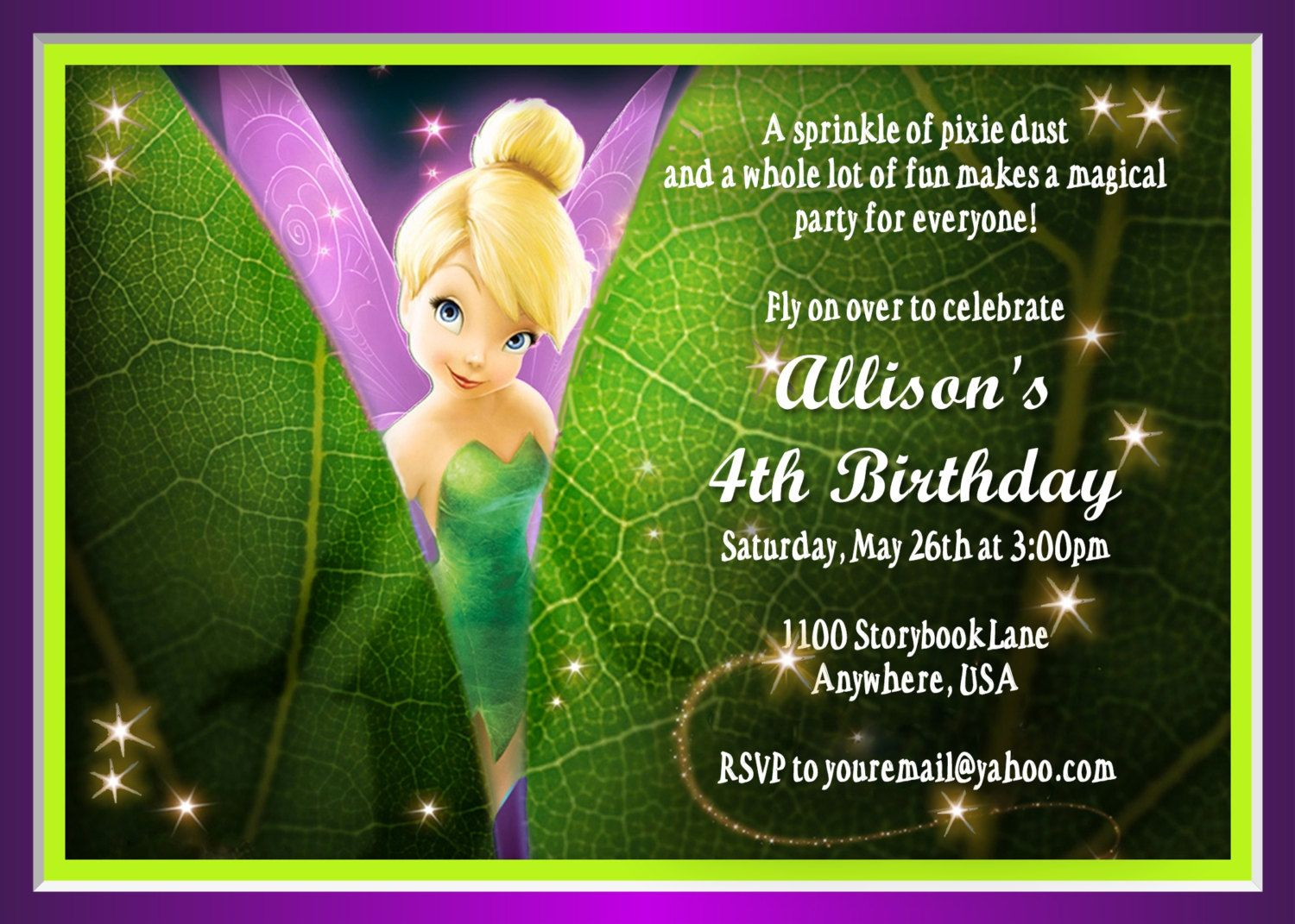 Amazing tinkerbell birthday invitation gallery invitation card tinkerbell invitation isabella land pinterest stopboris Choice Image