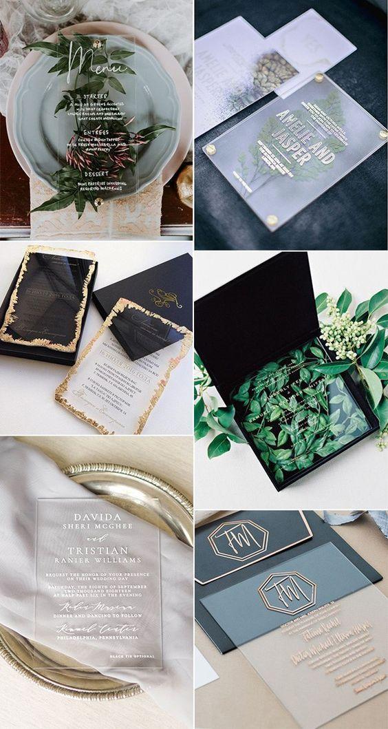 DIY transparent wedding invitations, acrylic wedding