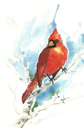 Christmas Bird Watercolors Christmas Watercolor Cardinal Painting