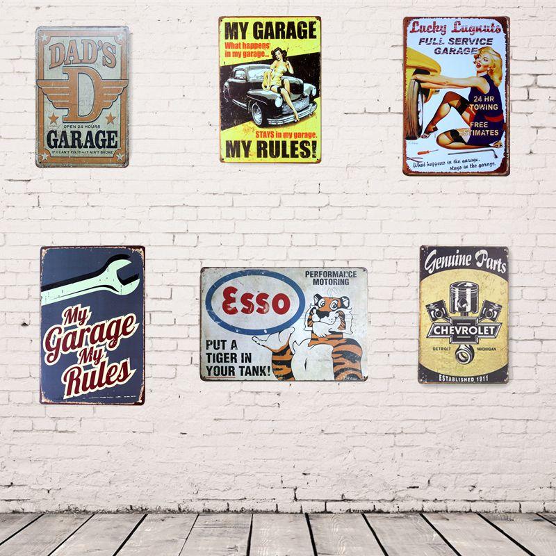 Garage Decor Signs Vintage Home Garage Decor 20X30Cm Metal Sign Shabby Chic Tin Signs