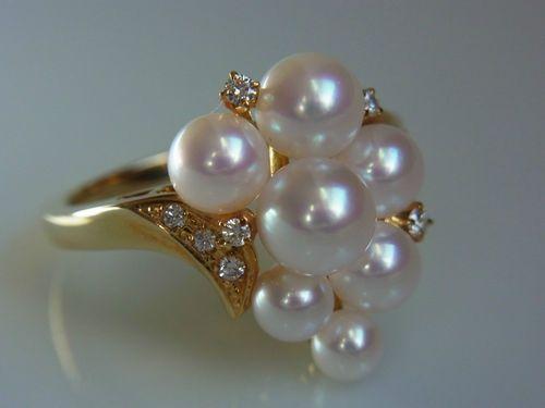 Mikimoto Ginza Tokyo Akoya Pearl Diamond Ring 18K eBay