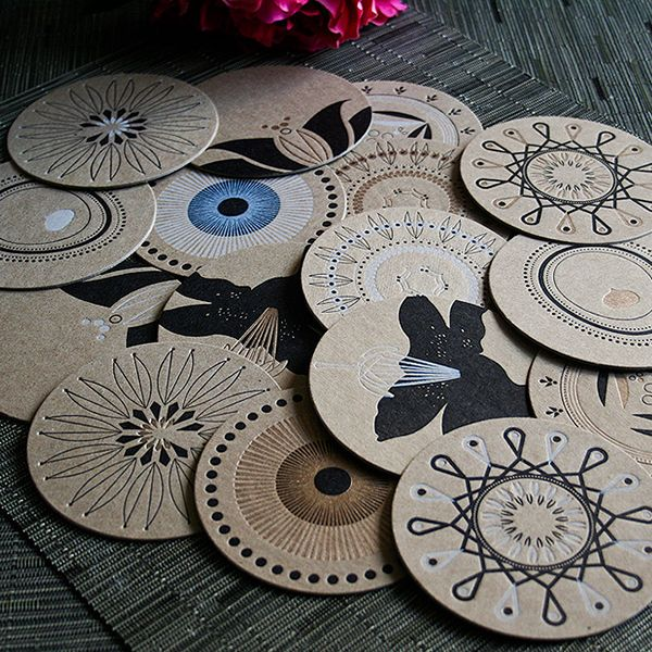 Unique and eco-friendly coasters, too beautiful to spoil or throw away. All  letterpressed coasters fuse in rich black and antiqu.