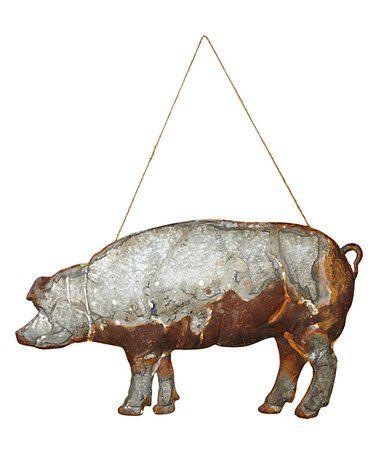 Antiqued Metal Pig Wall Art Zulilyfinds