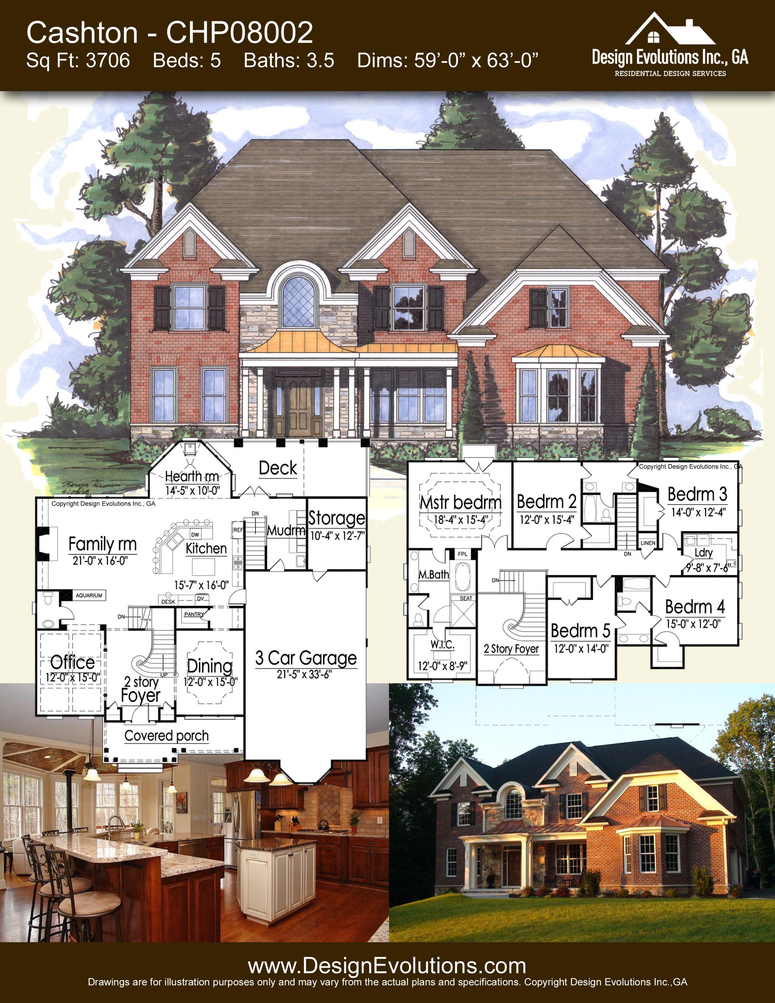 Cashton house plan – CHP 5 bed 3 1 2 bath 3706 sq ft luxury home plan