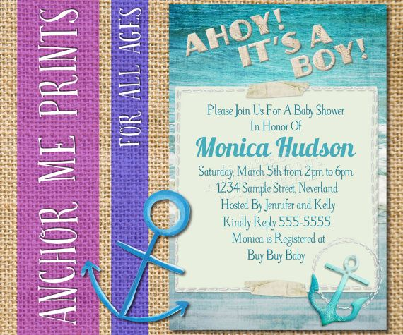 Nautical Anchor Boy Baby Shower Invitation by AnchorMePrints, $7.00