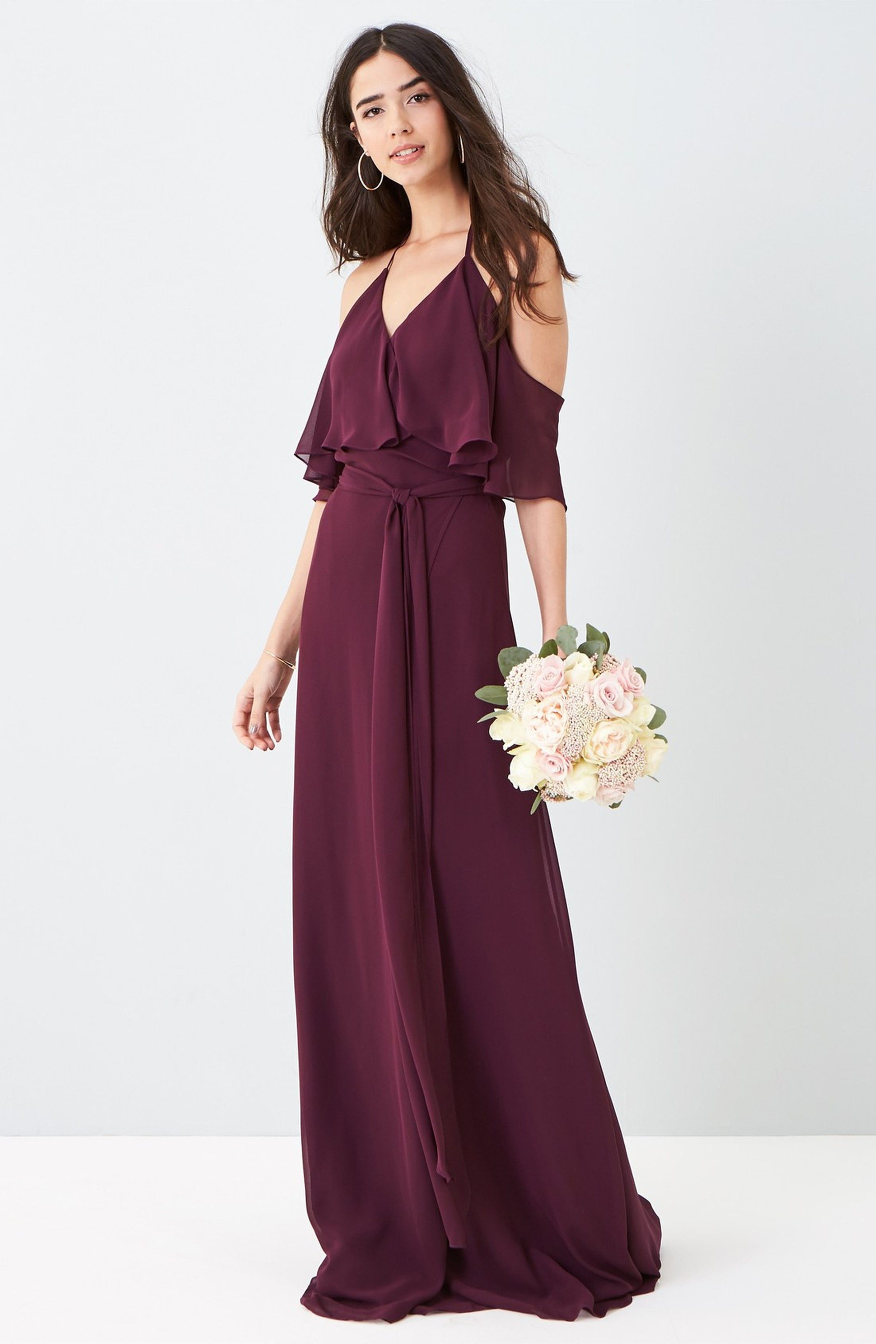 Burgundy bridesmaid dress with cold shouler ceremony by joanna burgundy bridesmaid dress with cold shouler ceremony by joanna august cold shoulder tie waist halter ombrellifo Images