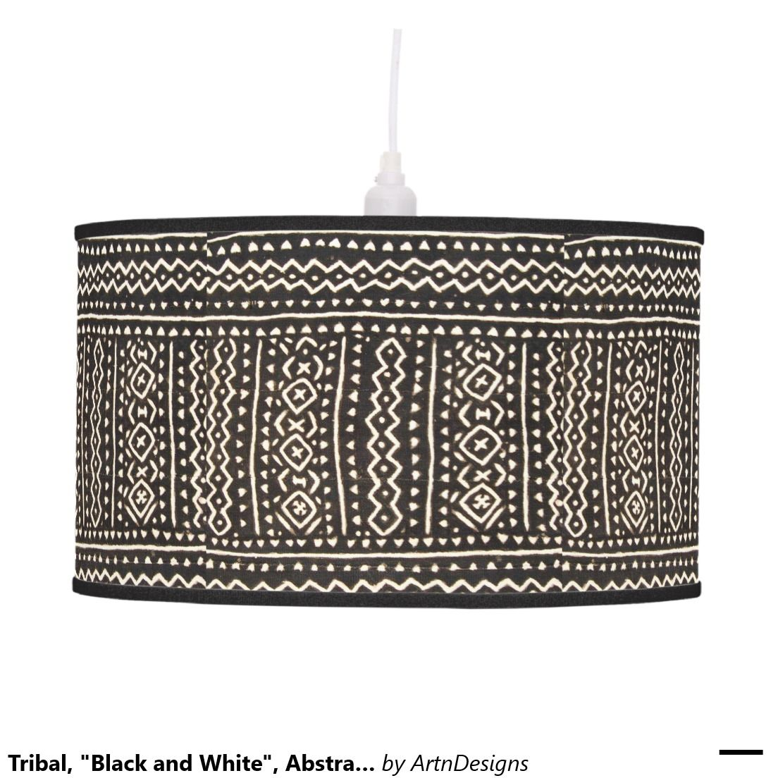 """Tribal, """"Black and White"""", Abstract Mudcloth Pendant Lamp"""