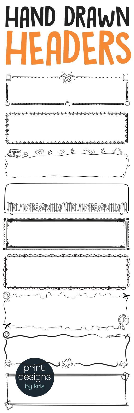 Hand drawn header boxes perfect for dressing up a worksheet [ 1728 x 564 Pixel ]