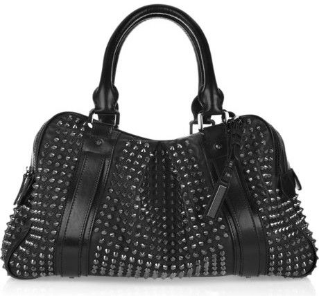 Burberry Studded leather Knight bag Burberry's black leather ...