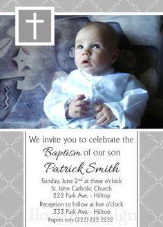 Grey Baptism Invitations Boy Christening Invitations Boy Baptism