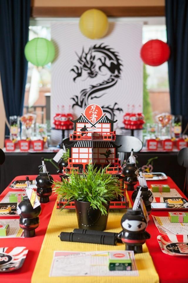 Boys Lego Ninjago Themed Birthday Party Candy Table Activities Ideas