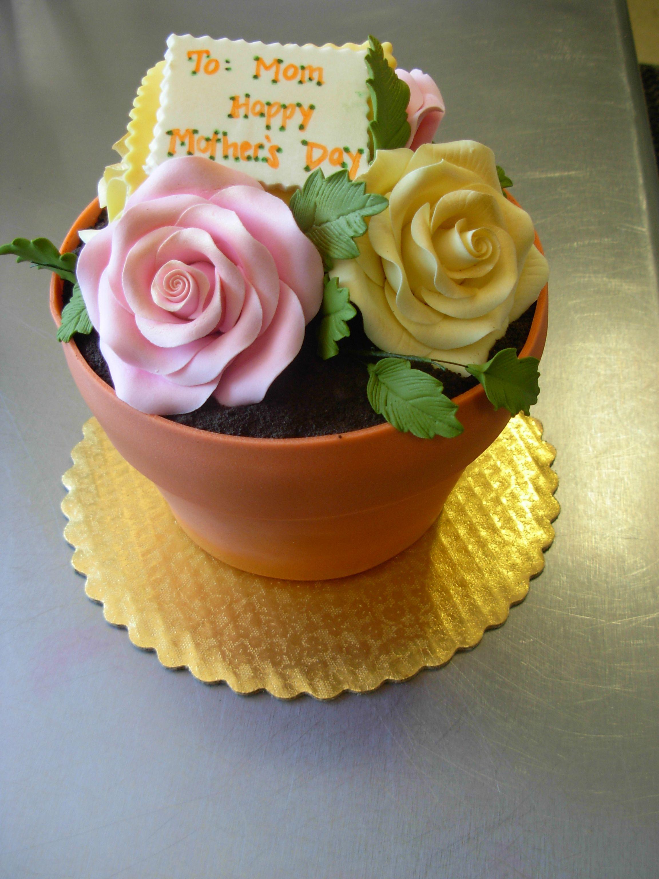 Flower pot shaped Mother's Day cake Flower pot cake