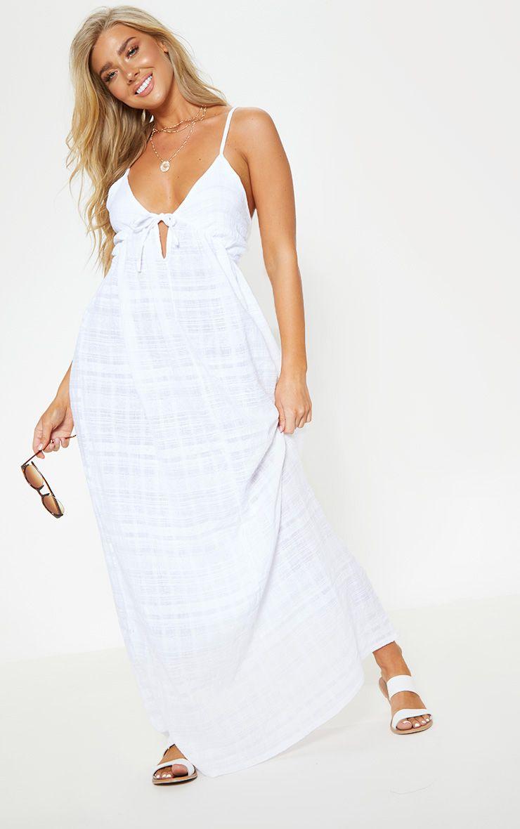 White Textured Cotton Beach Maxi Dress | White strapless maxi dress, Beach  maxi dress, Fashion clothes women