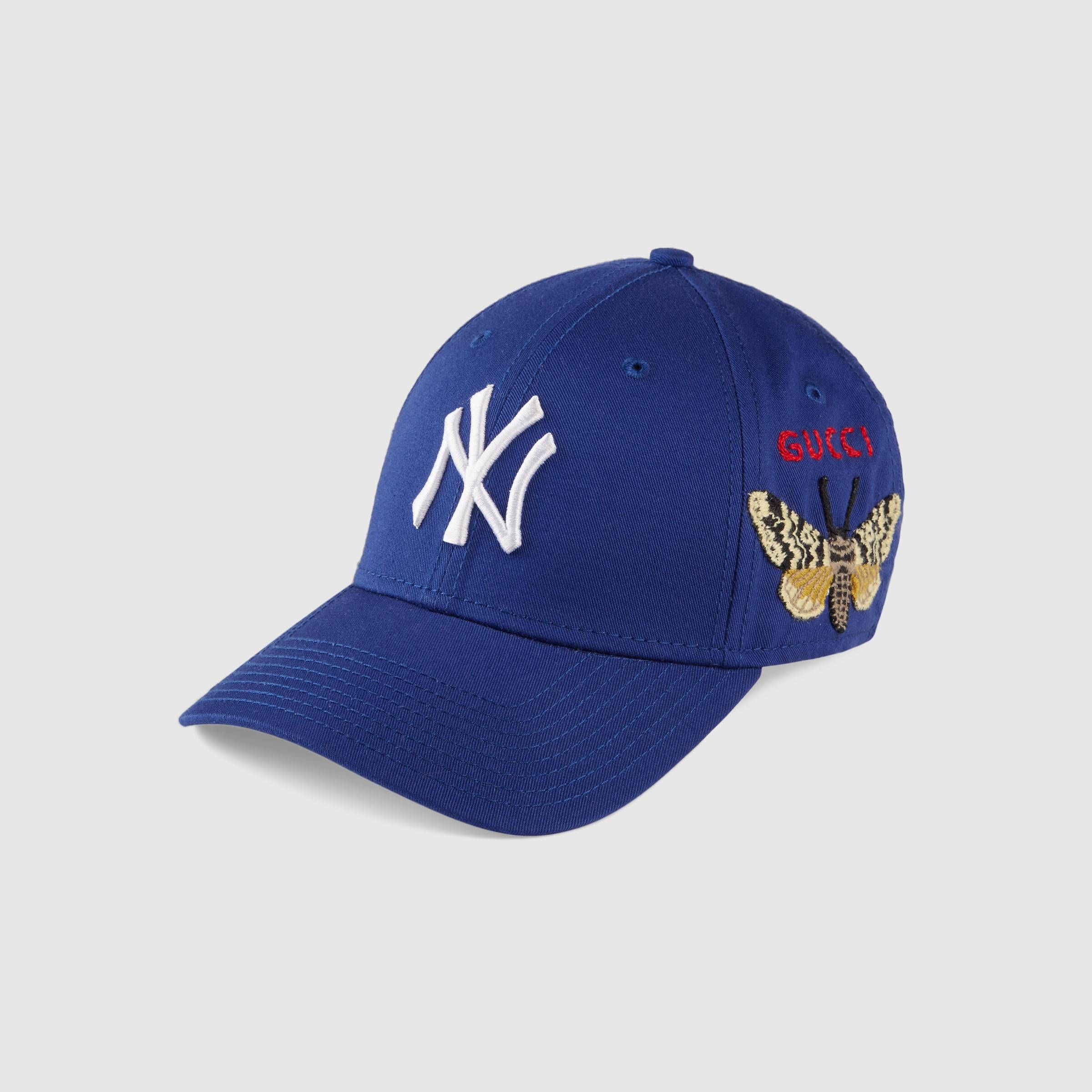 Baseball Cap With Ny Yankees Patch In Royal Blue Cotton Canvas Gucci Men S Hats Gloves Baseball Cap Womens Baseball Cap Yankees Hat
