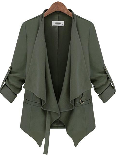 Abrigo casual con cinto manga larga-Verde