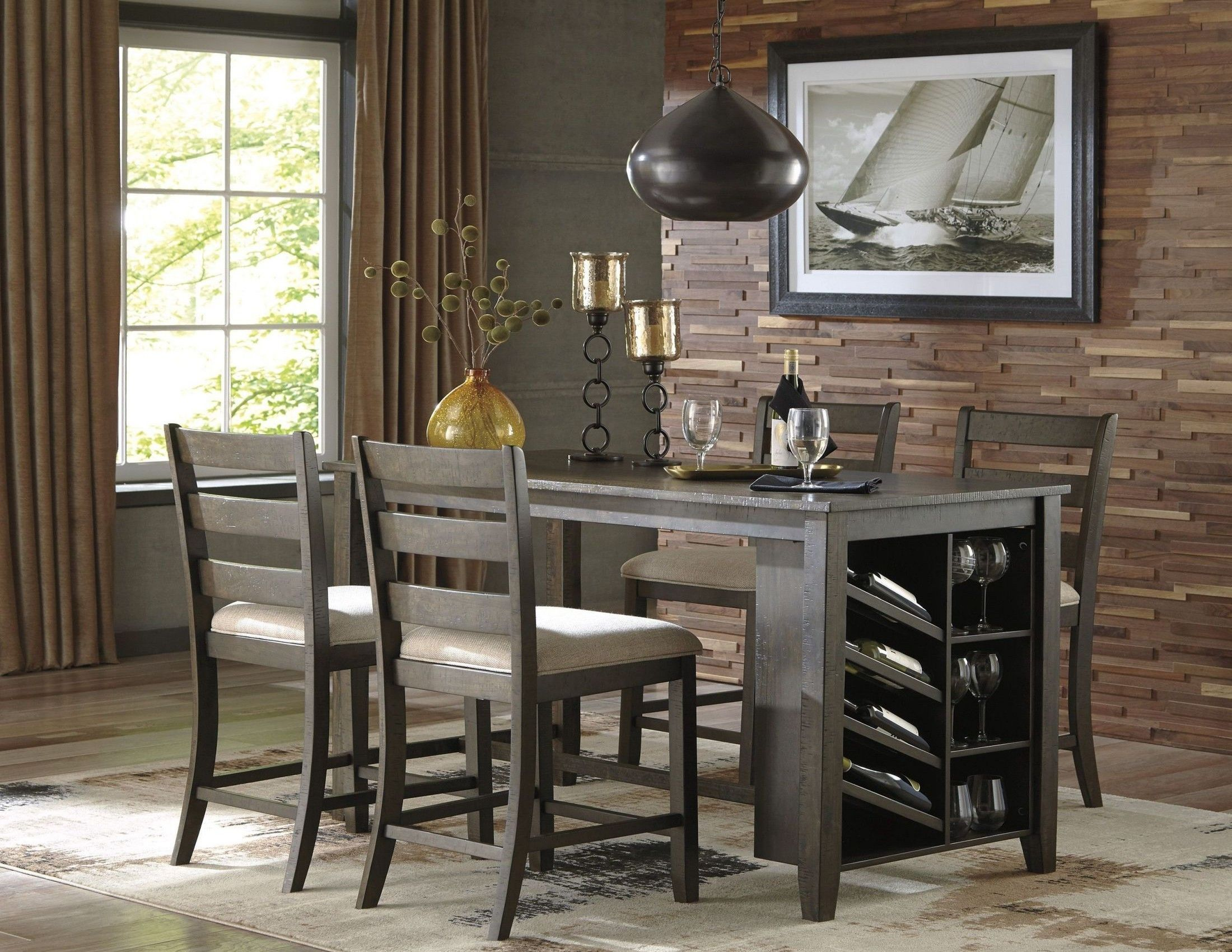 Rokane Light Brown Rectangular Counter Height Dining Room Set