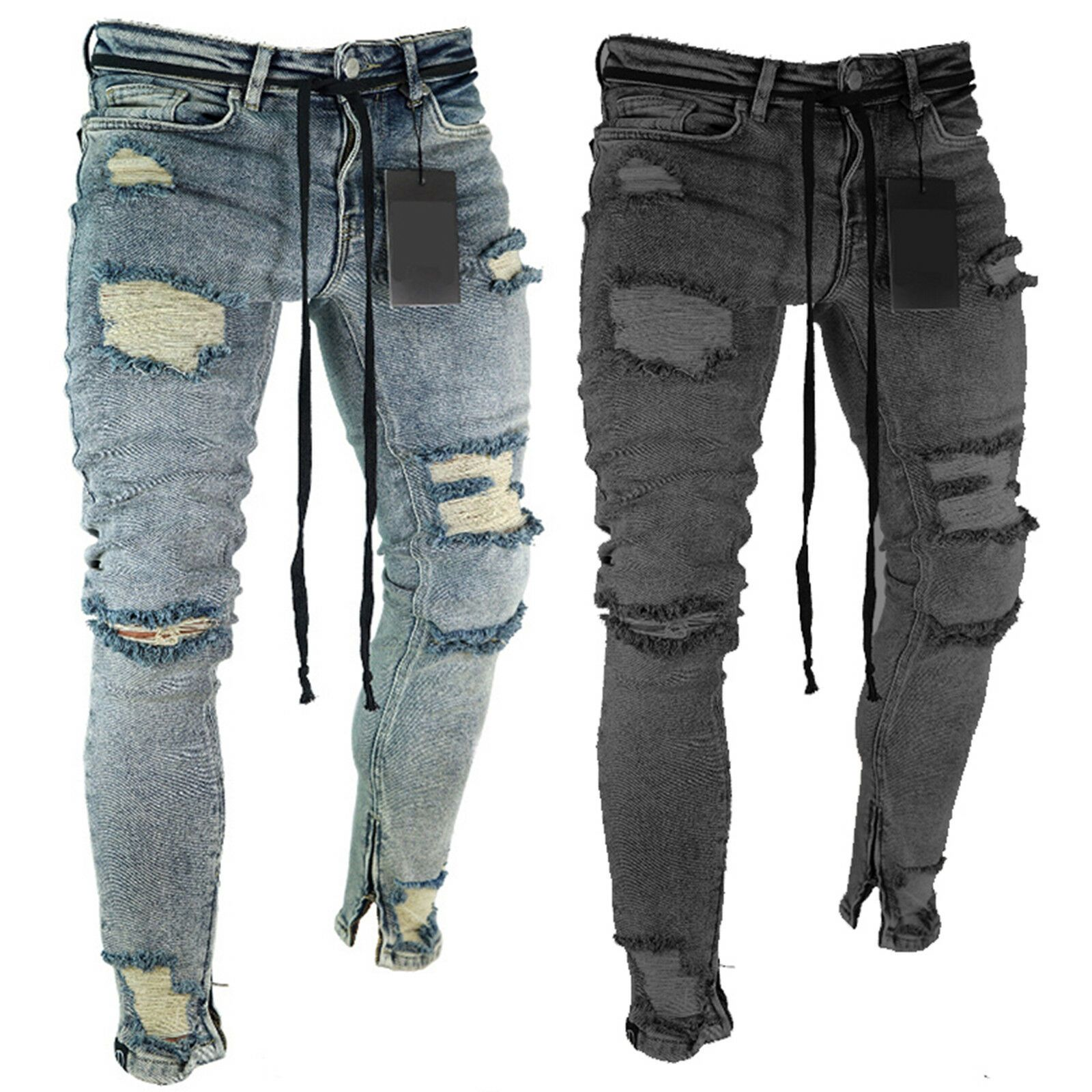 Men Skinny Denim Jeans Distressed Ripped Destroyed Biker Pants Designer Trousers Ideas Of Blac In 2020 Ripped Jeans Mens Fashion Denim Jeans Ripped Ripped Jeans Men,Interior Design Small Apartment Ideas Space Saving