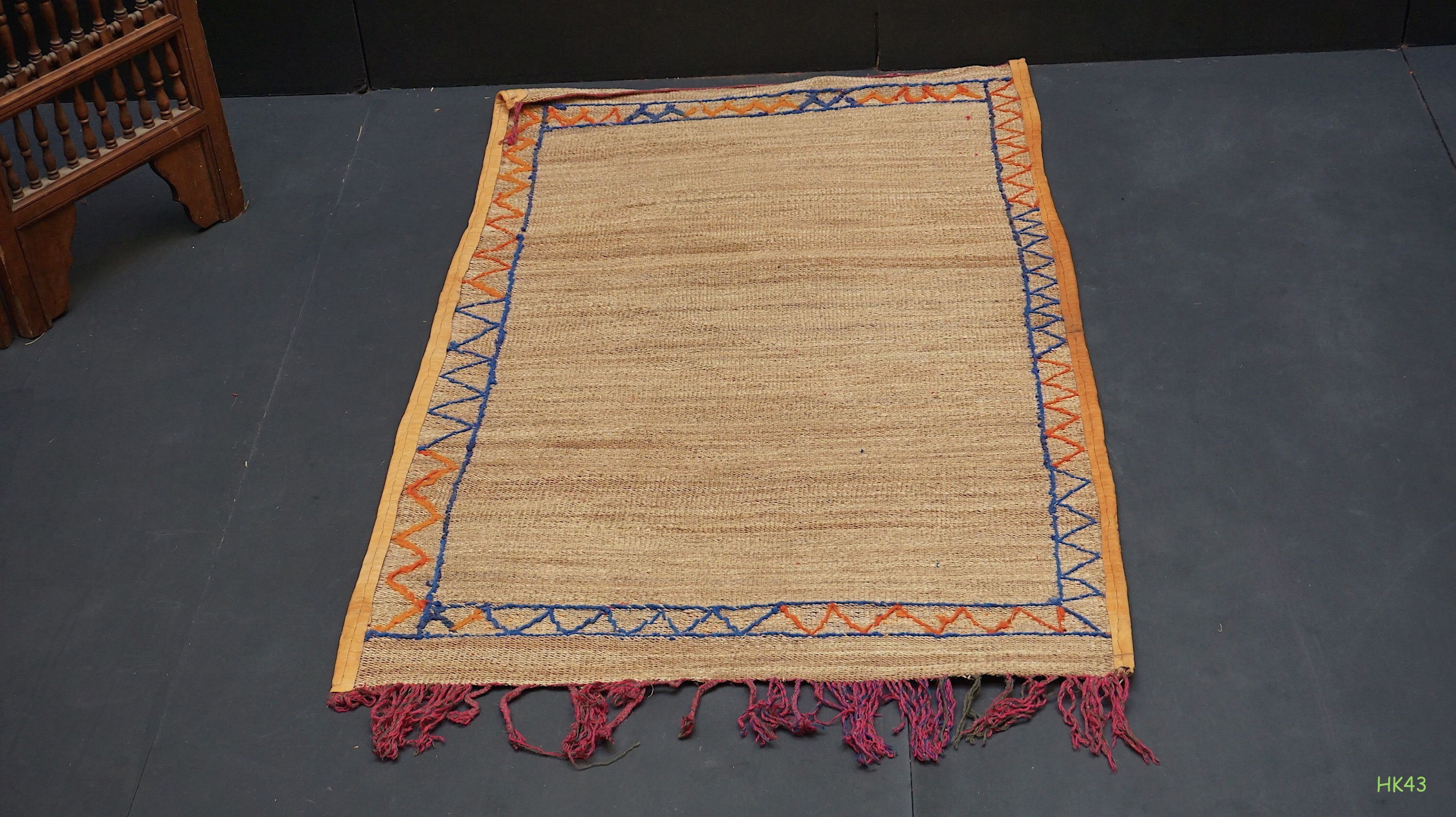 Small 3x4 Antique Straw Moroccan Mat Berber Rug Vintage Hira Carpet
