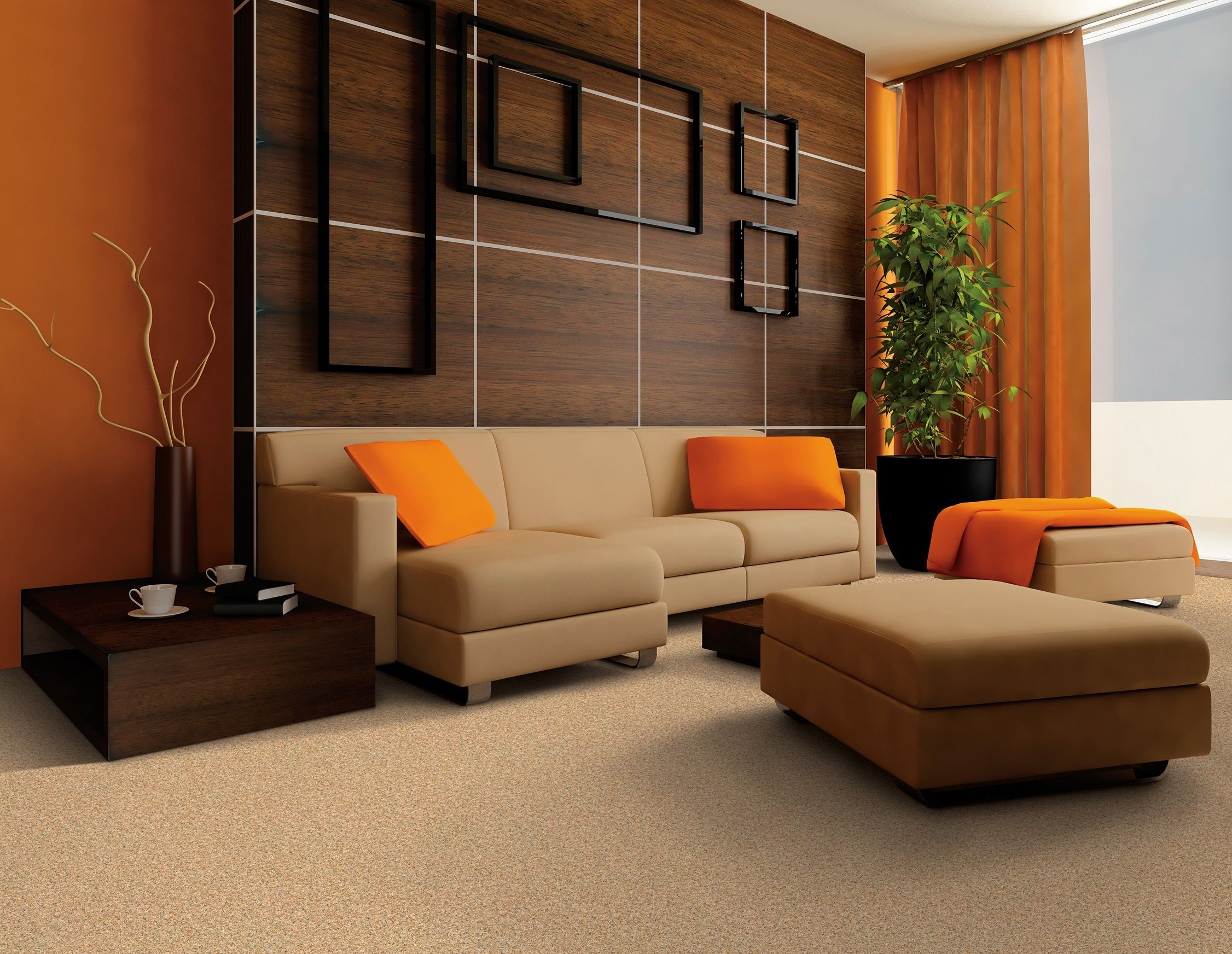 Living Room Decor Orange And Brown warm color wall paint and brown shades sofa design ideas for