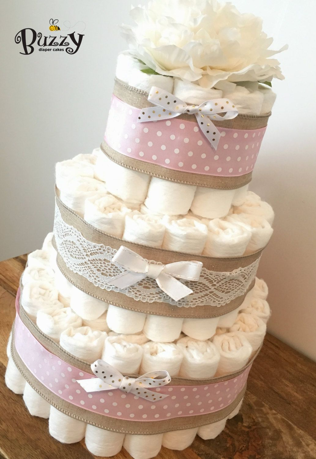 Shabby Chic Pink and Gold Diaper Cake Pink and por BuzzyDiaperCakes ...
