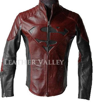 Superman Man of Steel   smallville Black And Red leather shield jacket on  Etsy 6176bb18ae