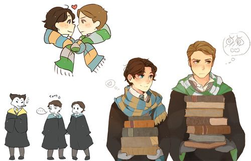 Harry Potter AU with Ravenclaw!Charles and Slytherin! Erik  Wolverine as a hufflepuff is true