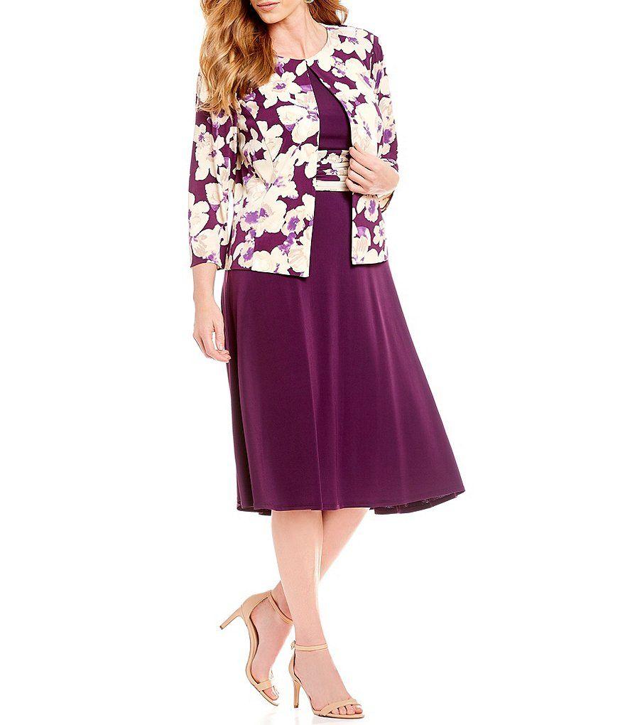 455035277627 Jessica Howard Plus Size 2-Piece 3/4 Sleeve Printed Jacket Dress ...
