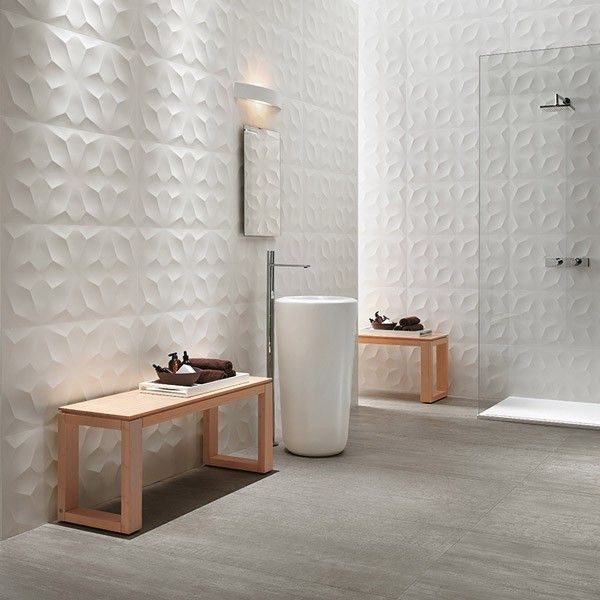 Wall Decor Tiles 3D Diamond White Matt White Bodied Ceramic Wall Decor Tile