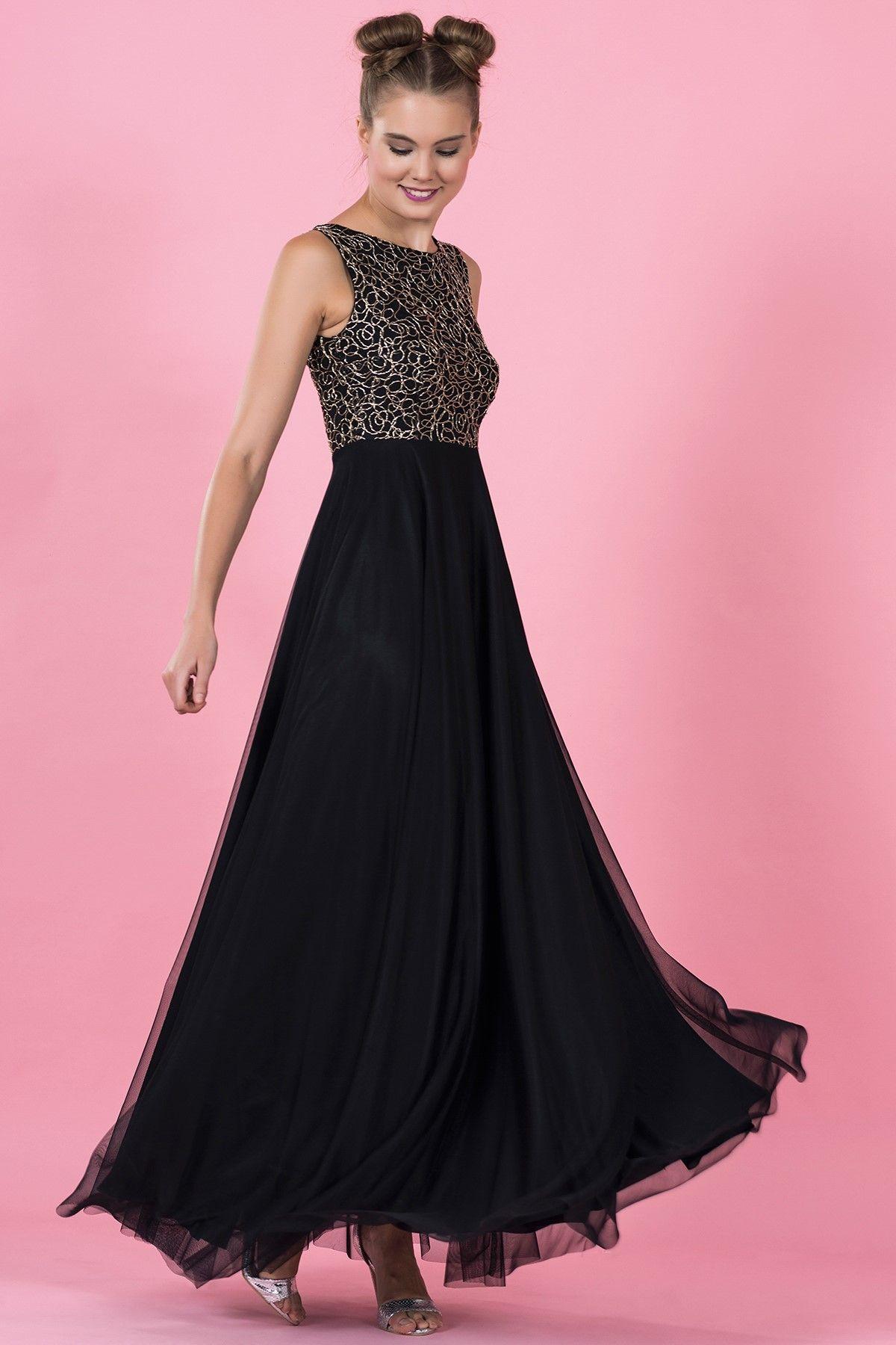 Siyah Altin Rengi Parlak Islemeli Uzun Abiye Elbise 5021 1085 The Dress Elbise Elbiseler