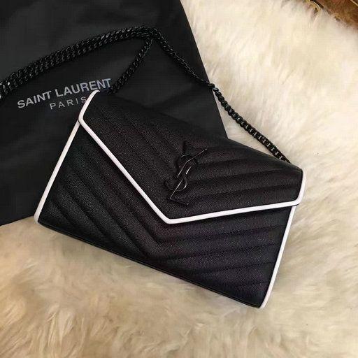 3ebb4842d91c 2017 Spring Saint Laurent Chain Wallet in Black and Dove White Grain de  Poudre Textured Matelasse Leather