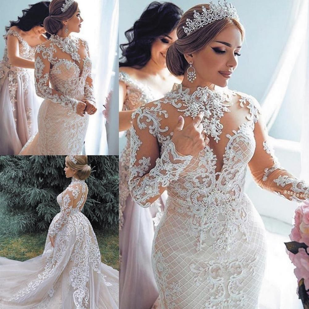 High neck luxury wedding dress with detachable skirt lace